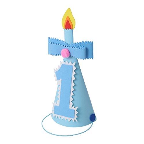 BESTOYARD Partyhut Kinder 1.Geburtstag mit 1 Zahlen Schleife Kerzen Kopfschmuck Geburtstagsfeier Zubehör Fotorequisiten für Jungen (Blau)