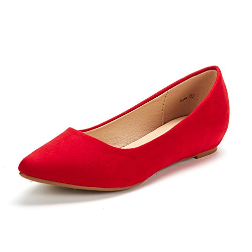 DREAM PAIRS Women's Jilian Red Suede Low Wedge Flats Shoes - 9 M US