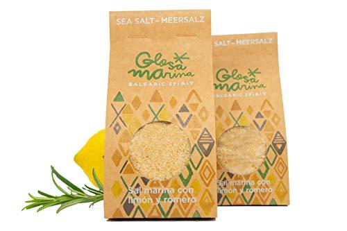 Glosa Marina - Meersalz mit Zitrone und Rosmarin / Zitronensalz Gewürzmischung aus Mallorca für Fisch Gerichte, Zitrus Salz und Gewürze als 200 g Gewürzsalz Refill Pack