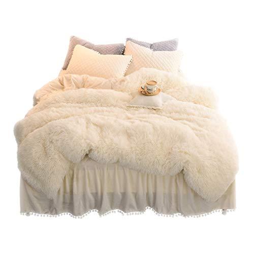 LIFEREVO Luxury Plush Shaggy Duvet Cover Set (1 Faux Fur Duvet Cover + 2 Pompoms Fringe Pillow Shams) Solid, Zipper Closure (Queen Light Beige)