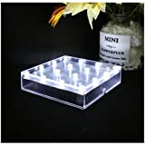 ARDUX 12,7 cm forma cuadrada 16 luces LED jarrón base luz con carga USB o pedestal alimentado por pilas para decoración de la casa de plantas, jardín fiesta (5 pulgadas cuadrada)