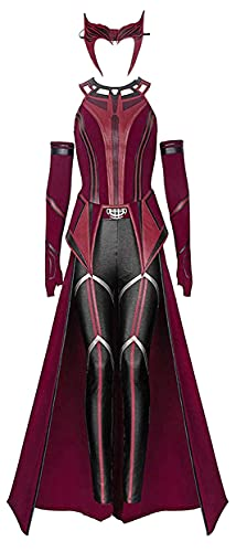 Wandavision Maximoff Halloween Cosplay Costume Nemesis Scarlet Witch Adult Women Headwear Cloak Replica Outfits Customize (Wanda Maximoff Cosplay, 3X-Large)