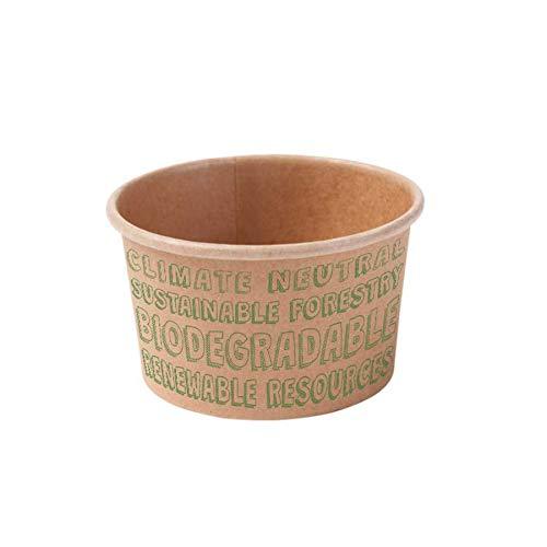 BIOZOYG Vasos para Helado 50 Unidades I Vasos de cartón Kraft marrón I Vasos compostables sin blanquear con Recubrimiento PLA I Cuencos para To Go I Tazas de cartón biodegradables 125ml
