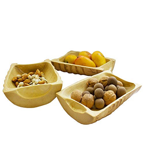 Uioy Panier de Rangement - Coupe à Fruits en Bambou Faite à la Main Assiette de Fruits séchés (Couleur : Beige)