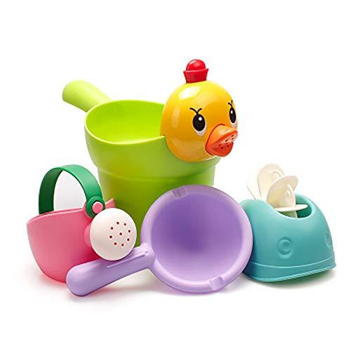 kuaetily Badewannen Spielzeug, Wasserspielzeug mit Kleiner Wasserlöffel und Kleine Dusche im Badewanne für Baby und Kleinkinder, Badespaß ab 3 Jahre für Badewanne Dusche Pool 4-Stücke