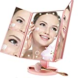 BUDDYGO Makeup Mirror, Vanity Lighted Trifold Mirror 1X 2X 3X Magnification, 180°Rotation Portable, Adjustable Touch Control Trifold Mirror with 22 LED Lights