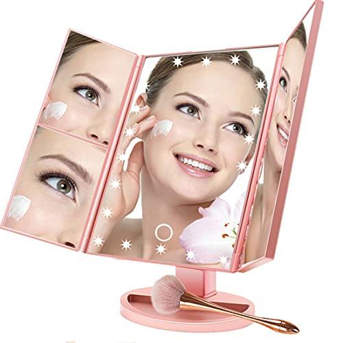BUDDYGO Espejo de maquillaje con luces – Espejo de mesa con 22 LED Trifold de mesa, aumento, 1x/2x/3x, interruptor de pantalla táctil, espejo cosmético portátil de alta definición con cable y soporte