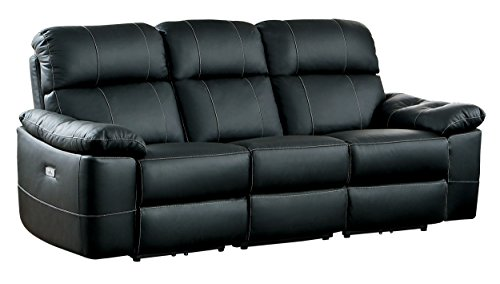 Homelegance 8223BK-3PW Nicasio Contemporary All Leather Power Reclining Sofa, Black