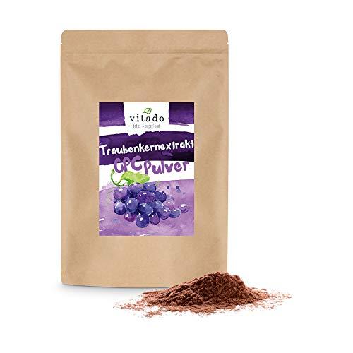 Vitado OPC Traubenkernextrakt hochdosiert - 500g OPC Pulver ohne Zusatzstoffe - Made in Germany - hochwertige Nahrungsergänzung - Premium grape seed extract - Anti Aging Traubenextrakt