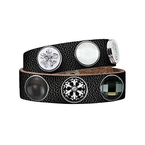 Quiges Damen 18mm Druckknopf Armband aus Leder Schwarz mit Schwarz/Weiße Click Buttons