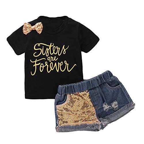 DaMohony Kinder Mädchen Kleidung Outfits Bowknot Brief Print T-Shirt + Shorts 2 Stück Kleinkind Kleidung Anzug Gr. 5-6 Jahre, Schwarz + Blau