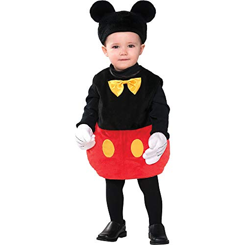 Costumes USA Mickey Mouse Halloween Costume for Babies, 12-24 Months, Includes Bodysuit, Hat with Ears and Gloves