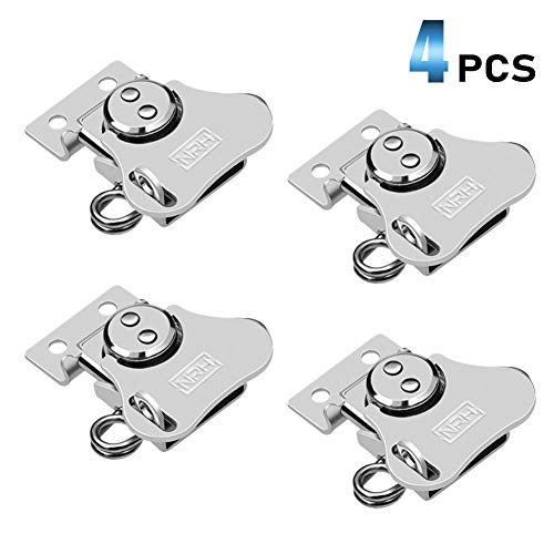 INCINCREWAY Kast Latch 4 stks 1.67-inch Iron Chrome Lock Vlinder Twist Lock Deur Lock Crank Clip met Lock Hole, voor Houten Kast, Camera Case, Flight Case Accessoires (zilver)