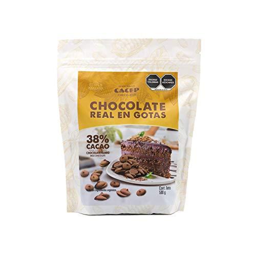 CACEP  Gotas de Chocolate con Leche 38% cacao orgánico 500g   Ideal para Repostería   Sedoso y Cremoso   Horneables   100% Mexicano   Sin Gluten