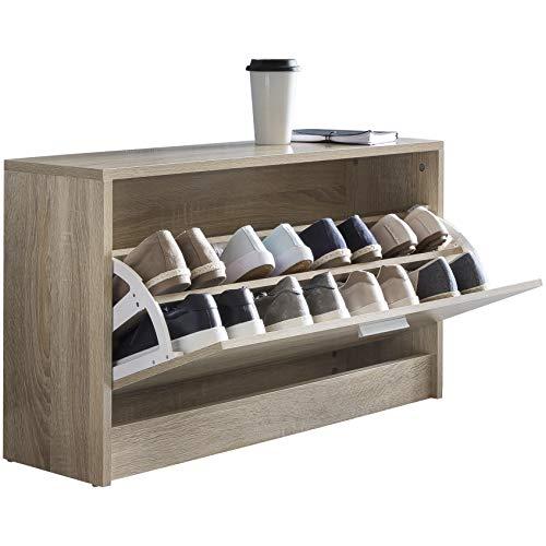 FineBuy Schuhbank mit Sitzfläche Sonoma Eiche Schuhkipper Holz 80 x 47 x 24 cm   Flurbank klein...