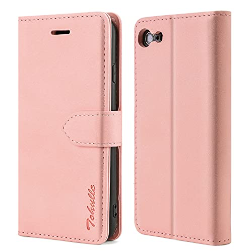 TOHULLE Case for iPhone 7 iPhone 8 iPhone SE 2020, Premium Leather Wallet Case with Card Holder Kickstand Magnetic Closure Flip Folio Case Cover Compatible with iPhone 7/8/SE 2020 - Rose Gold