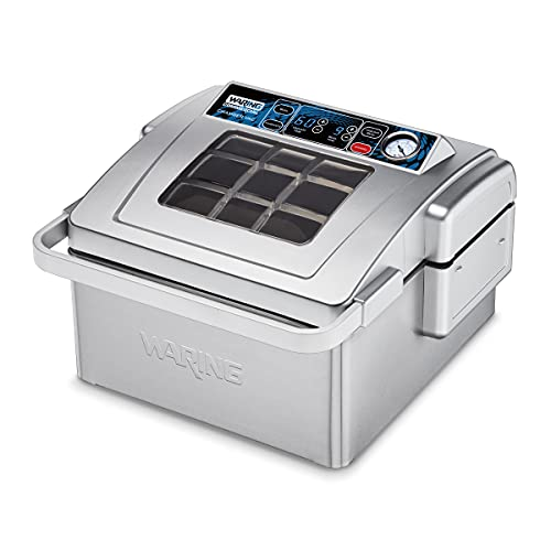 Waring Commercial WCV300 Chamber Vacuum Sealer, Digital Touchpad Contol Panel, Comes with a set of 100 food pouches, 380W, 120V, 5-15 Phase Plug