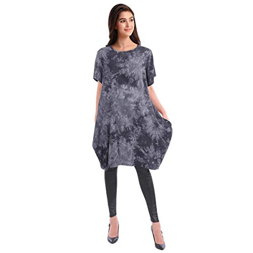 Ibakom - Camiseta de manga corta para mujer Negro Negro (vestido camiseta) M