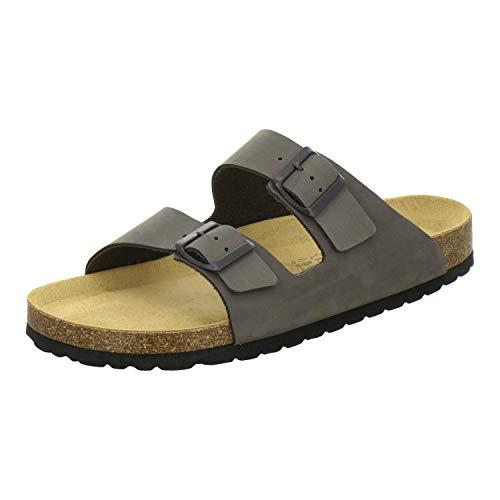 AFS-Schuhe 3100 Bequeme Pantoletten für Herren Leder, Hausschuhe Arbeitsschuhe, Made in Germany (43 EU, Grau/Stone)