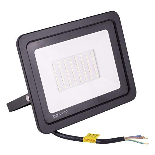 POPP® Foco Proyector LED 50W para uso Exterior Iluminación Decoración 6000K luz fria Impermeable IP65 Negro y Resistente al agua. (50)