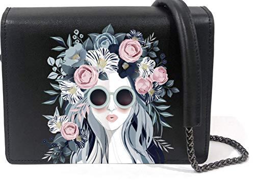 Genuine Leather Black Crossbody Bag for Women Messenger Handbag Wallet Shoulder Purse with Printed Design, Flower Girl, Regular
