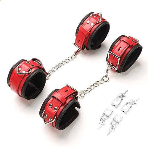 exreizst 4 Soft Adjustable Hand Ankle Wrist Leather Cuffs Straps Set with 2 Metal Chains Red product image