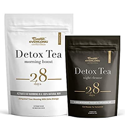 Detox Tea 28 Day Ultimate Teatox - Burn Fat and Boost Your Energy, Colon Cleanse and Flat Belly, Activate Immune System and Accelerate Healthful Weight Loss - Easy Brewing and Taste Delicious from Everlong Tea Co