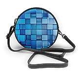 BAODANLA Bolso redondo mujer Women's Round PU Leather Crossbody Satchel Shoulder Bag Blue Cubes Circle Tote Hobo Bag For Ladies Sling Bag