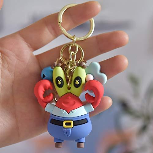 Schlüsselanhänger Cartoon Cute Spongebob Dreidimensionale Puppe Schlüsselanhänger Anhänger Handy Tasche Schlüsselanhänger Tasche Auto Anhänger Kleine Geschenk Schlüsselanhänger (Farbe: 3)