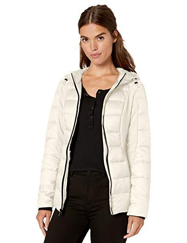1 Madison Women's Down Packable Hooded Jacket Mixed with Jersey Knit, Ivory, L