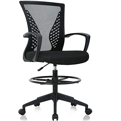 Drafting Chair Tall Office Chair Ergonomic Desk Chair Massage Mid Back Mesh Computer Executive Chair with Lumbar Support & Foot Ring Height Adjustable Rolling Swivel Drafting Stool for Standing Desk