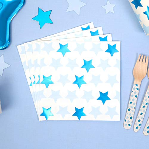 Papieren servetten sterren wit, blauw & turquoise tuinfeest kinderverjaardagsfeest meisje jongen zomerfeest grill tafeldecoratie gedekte JGA vrijgezellenafscheid baby-shower-party 33 x 33cm 32 servetten