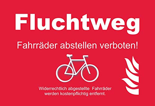 SCHILDER HIMMEL anpassbares Fluchtweg Fahrräder abstellen verboten! Schild 21x15cm Alu-Verbund mit Schrauben, Nr 5339 eigener Text/Bild verschiedene Größen/Materialien