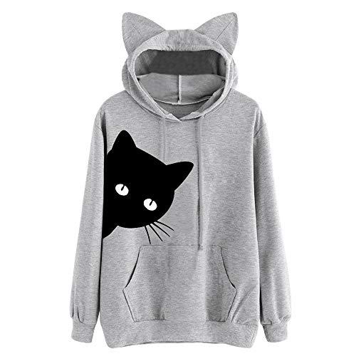 Aniywn Women's Hoodie Cat Ear Print Cute Tops Blouse Autumn Long Sleeve Pocket Sweatshirt Hooded Pullover Shirt Gray