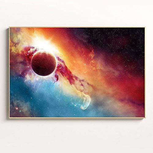 FlduodEarth poster en print astronaut nevel ruimte kunst galaxy canvas schilderij woonkamer decoratieve muur foto60x90 cm ingelijste