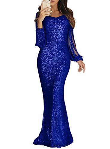 Dokotoo Damen Abendkleider Langarm Lang Kleider Pailletten Elegant Cocktailkleider Party Blau L (EU44-EU46)
