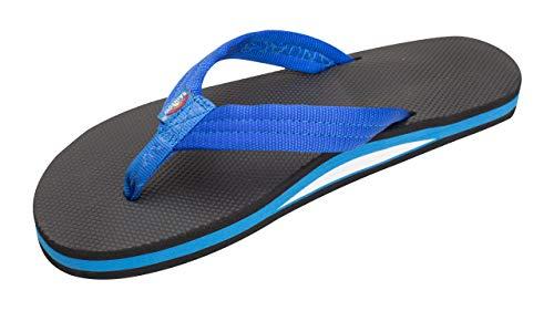 Rainbow Sandals Women's Single Layer Classic Rubber w/EVA Filled Nylon Strap, Blue/Black, Ladies Large / 7.5-8.5 B(M) US