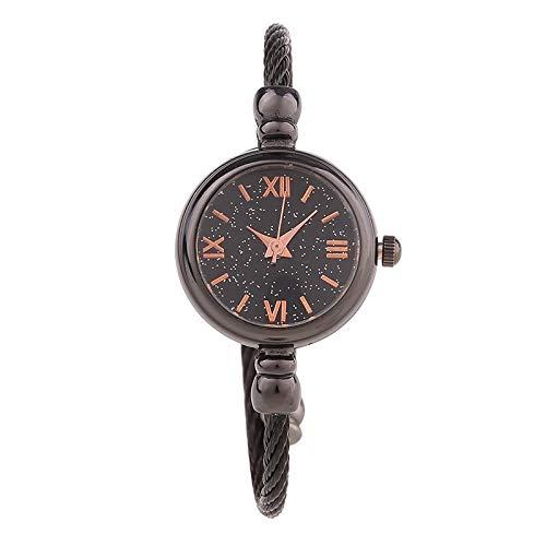 JZDH Frauen-Uhren Weibliche Abteilung Kleine Frische Uhr Weibliche Schüler Einfacher Trend Armbanduhr Damen Armband-Uhr-Dekoration Dame Armbanduhr (Color : Gun Color Short Rome)