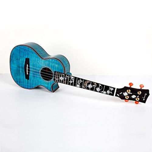 """LSWL Flor Enya Huahai Ukulele 5A Grado de arce flameado azul Ukeleles 23"""" 26"""" Concert/Tenor Hawaii 4 de la guitarra instrumentos musicales de cuerda (Color : Acoustic, Size : 26 inches)"""
