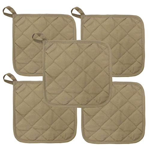 Beige Heat Resistant Pot Holders 6.5 Square Solid Color (Pack of 10) | Multipurpose Quilted Hot Pads Pot Holders For Everyday Quality Kitchen Cooking Chef Linens (Tan)