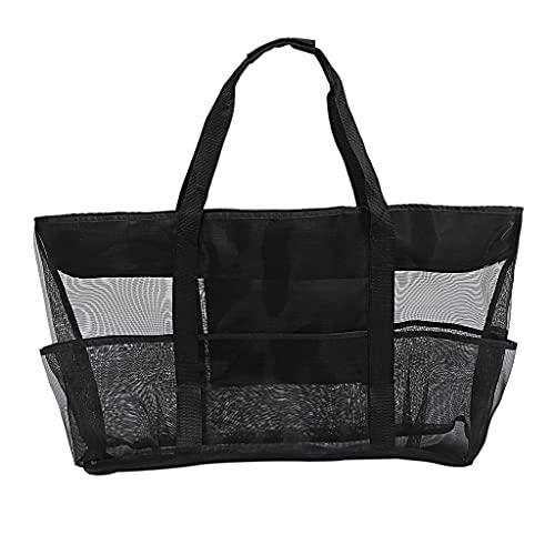 XIXILI Strandtasche, Große Kapazität Mesh Tasche Atmungsaktiv Mehrere Taschen Mesh Aufbewahrungstasche für Strand Picknick Reisetasche Aufbewahrungstasche Handtasche Schwarz 70x18x45cm