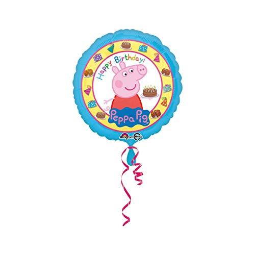 Amscan International 3159201 Peppa Pig Happy Birthday - Globo de papel de aluminio estándar , color/modelo surtido