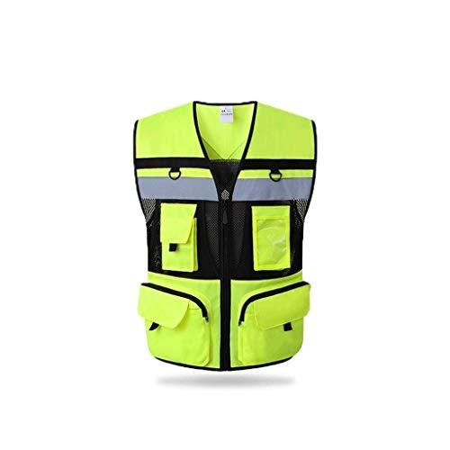 Mr.T Cardigan chaleco reflectante, chaleco de seguridad multi-bolsillo Riding traje de alta visibilidad Chaleco Advertencia Vestimenta de reflectores de advertencia