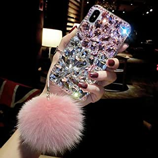 iPhone XS Max Diamond Case, Luxury Lady Mix Color Rhinestone Stone Jewelled Clear TPU Case for iPhone XS Max 6.5-inch with Fur Ball (Pink)