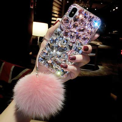 Victorlan iPhone Xs Max Diamond Case, Luxury Lady Mix Color Rhinestone Stone Jewelled Clear TPU Case for iPhone Xs Max 6.5-inch with Fur Ball (Pink)