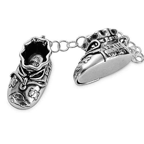 Babyschuhe Zahndose Lockendose massiv 925 Silber Gravur Schuhe Taufgeschenk Silberschuhe, für Jungs und Mädchen Mein erster Zahn, Meine erste Locke #2212 (Babyschuhe mit Gravur)