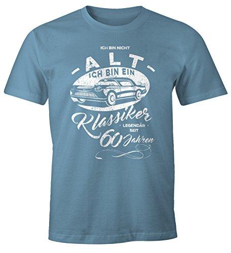 MoonWorks Herren Geschenk T-Shirt zum Geburtstag Ich Bin Nicht alt Ich Bin EIN Klassiker Auto Retro Oldtimer Spruch 30-90 Jahre 60 Stone Blue L