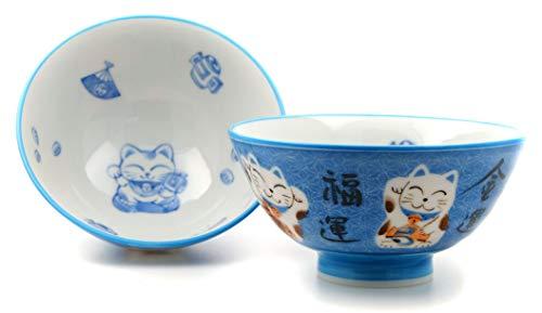 GoTo Bleu Lucky Cat bols japonais X2
