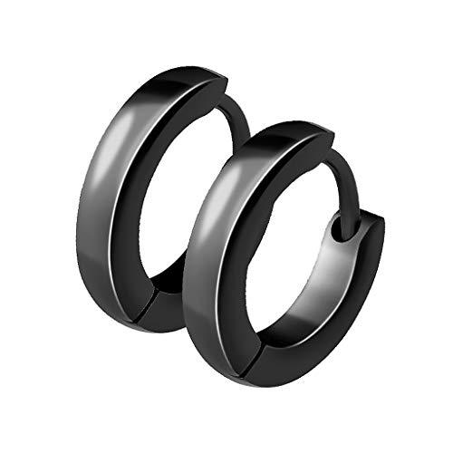 Mianova Unisex Creolen Edelstahl Damen Herren Klapp-Verschluss Schmale Ohrringe Huggie Kreolen Stecker Ohrstecker zum Klappen rund 2,5mm breit Schwarz
