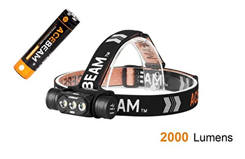 ACEBEAM H50 Rechargeable LED Headlamp - 2000 Lumens - Include One 3100mAh Battery